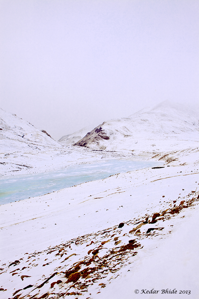 Frozen stream near Tso-moriri