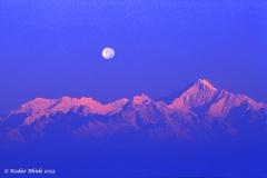 Kanchanjunga with moon